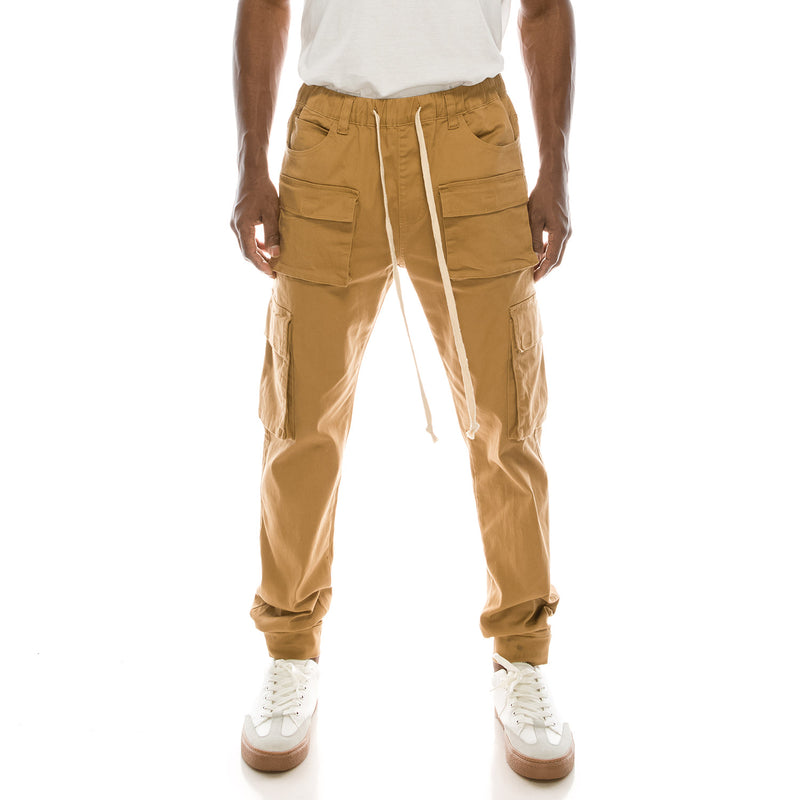VELCRO CARGO JOGGER PANTS - WHEAT