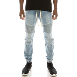 DENIM JOGGER PANTS - LT INDIGO
