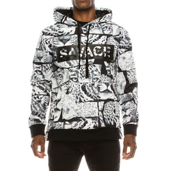 SAVAGE LEOPARD FLEECE PULLOVER HOODIE - BLACK