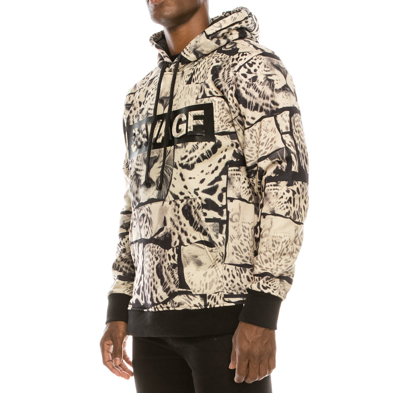 SAVAGE LEOPARD FLEECE PULLOVER HOODIE - TAN