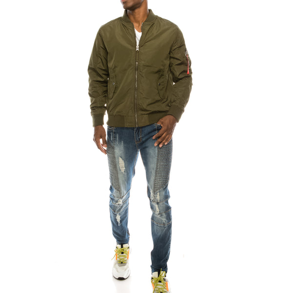 LIGHT WEIGHT BOMBER JACKET OLIVE LINING- OLIVE