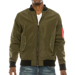 LIGHT WEIGHT BOMBER JACKET RED LINING - OLIVE