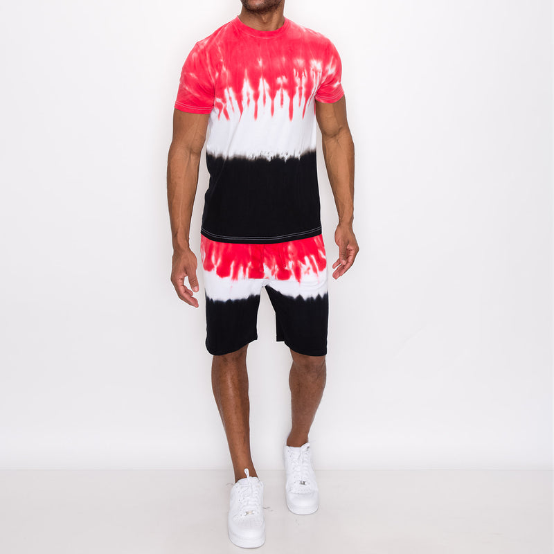 TIE DYE SHORTS - RED/BLACK