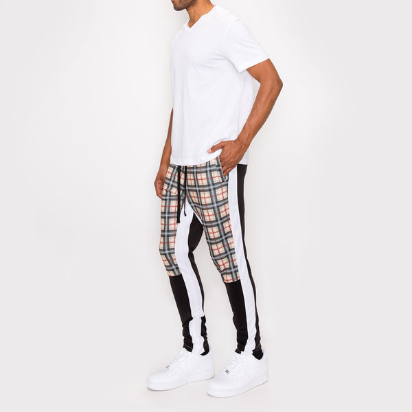 Plaid Track Pants - KHAKI PLAID