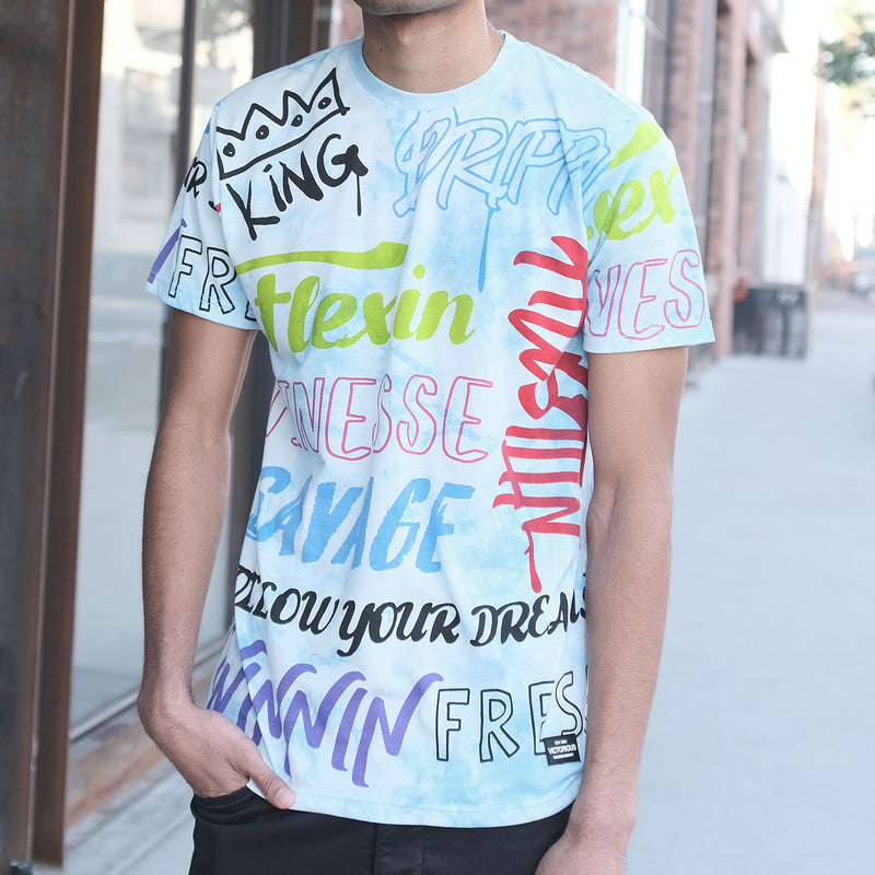 TIE DYE GRAFFITI ALL OVER T-SHIRTS - BLUE DYE
