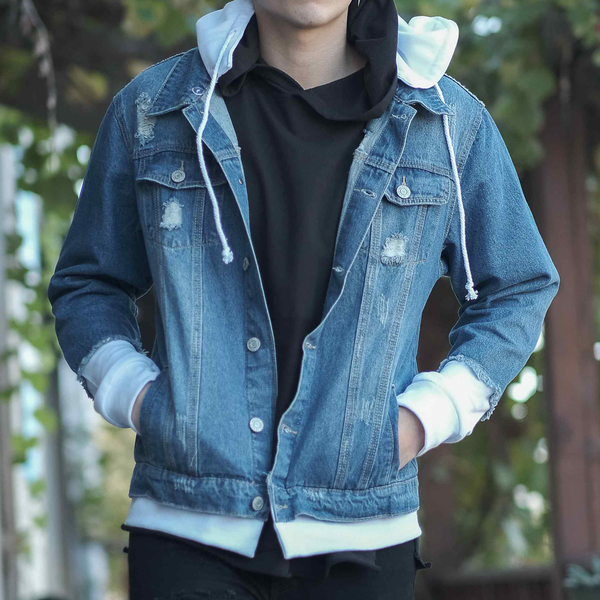 LAYERED LOOK DISTRESSED DENIM JACKET - INDIGO/WHITE