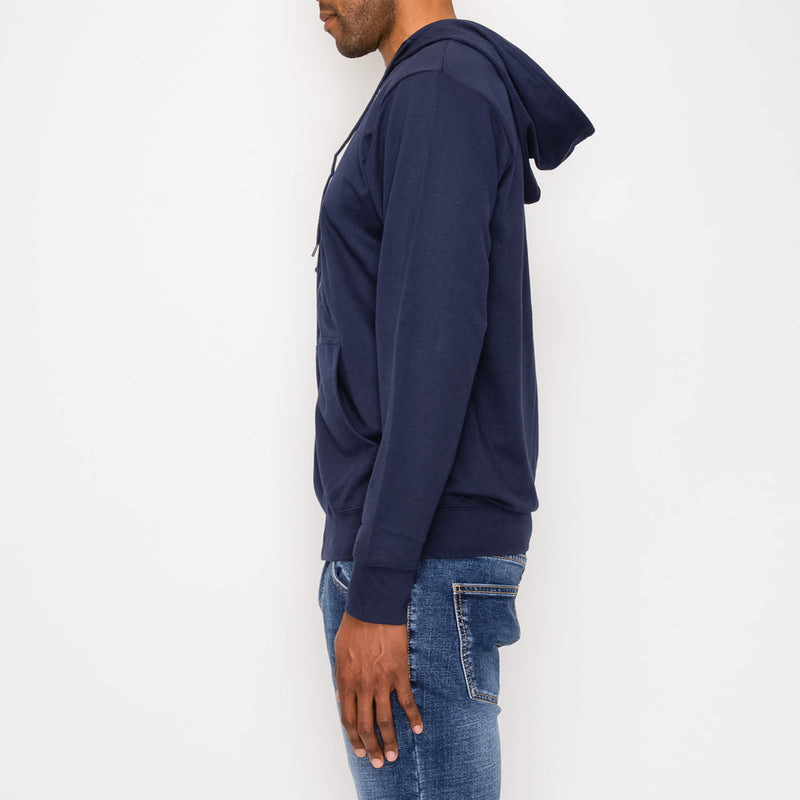 FRENCH TERRY ZIP DOWN HOODIE - NAVY