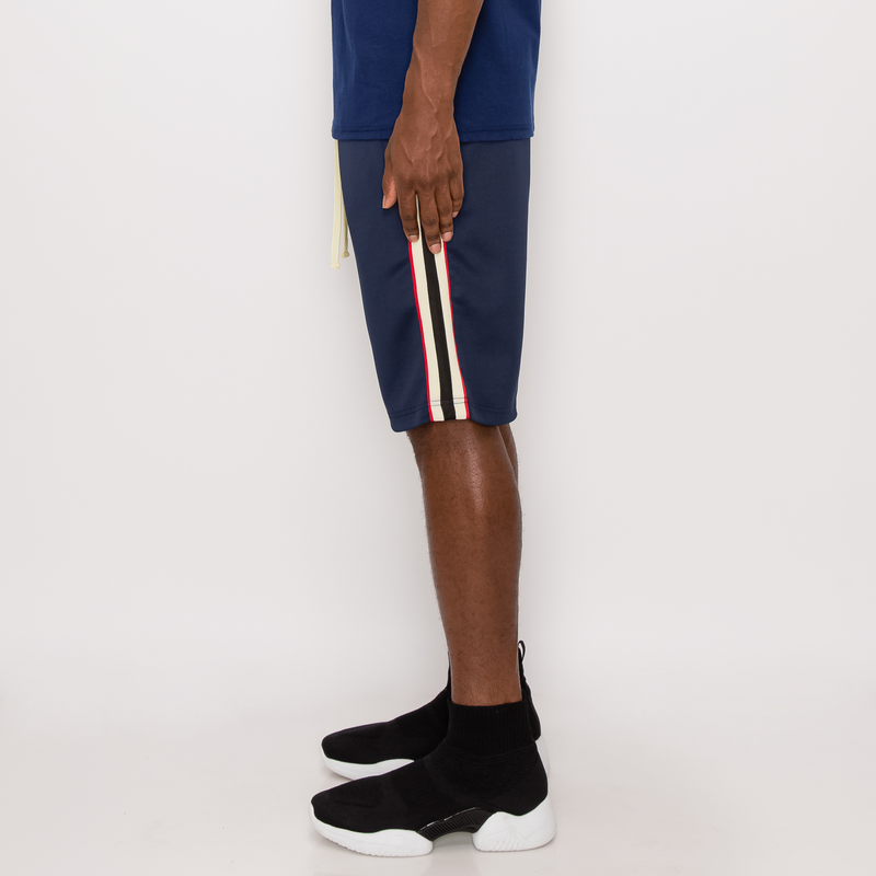 SIDE STRIPE TRACK SHORTS - NAVY
