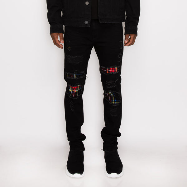 DISTRESSED PLAID DENIM JEANS - BLACK