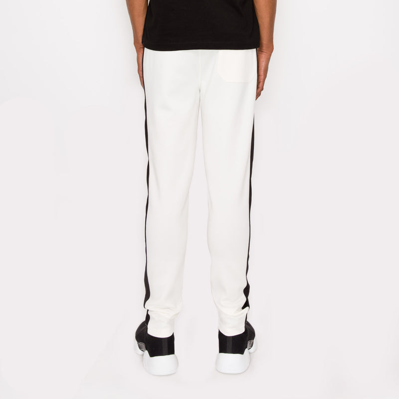 SKINNY FIT STRIPED TRACK PANTS - OFF  WHITE