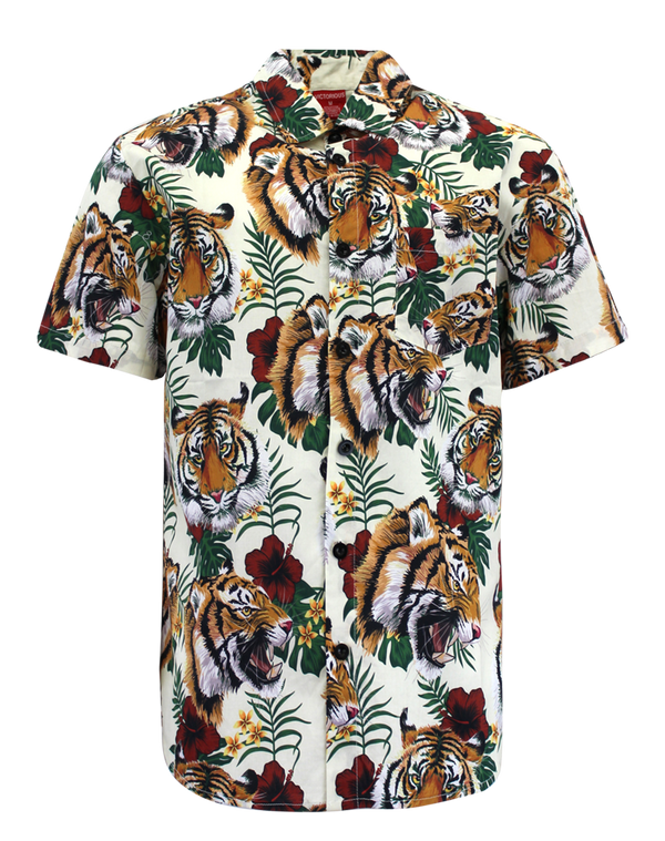 FLORAL TIGER SHIRTS - OFF WHITE