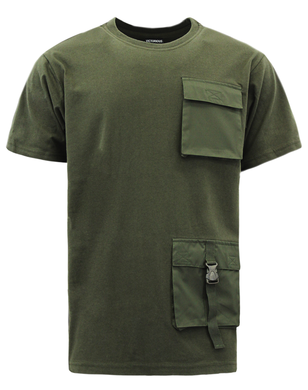DOUBLE POCKET UTILITY T-SHIRTS - OLIVE