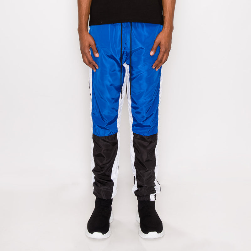 TRI COLOR WINDBREAKER TRACK PANTS - R. BLUE
