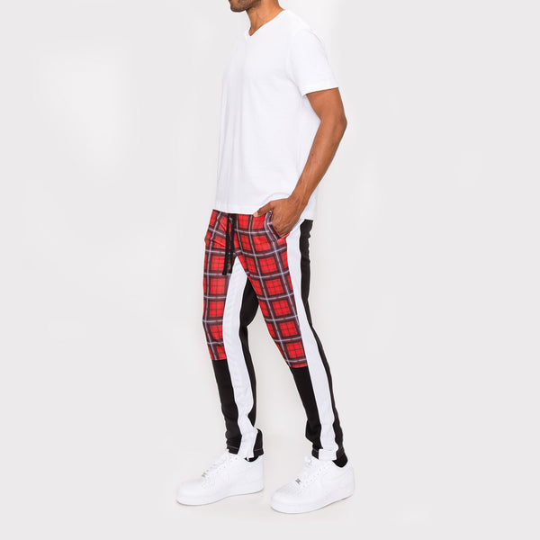 Plaid Track Pants - RED PLAID