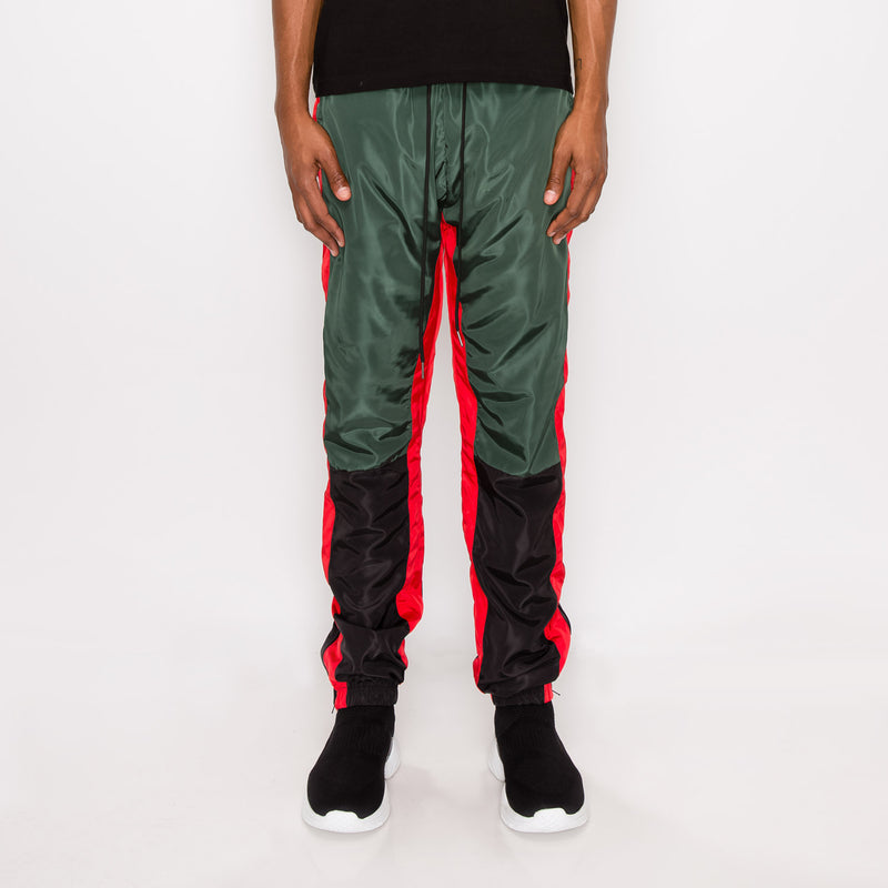 TRI COLOR WINDBREAKER TRACK PANTS - GREEN