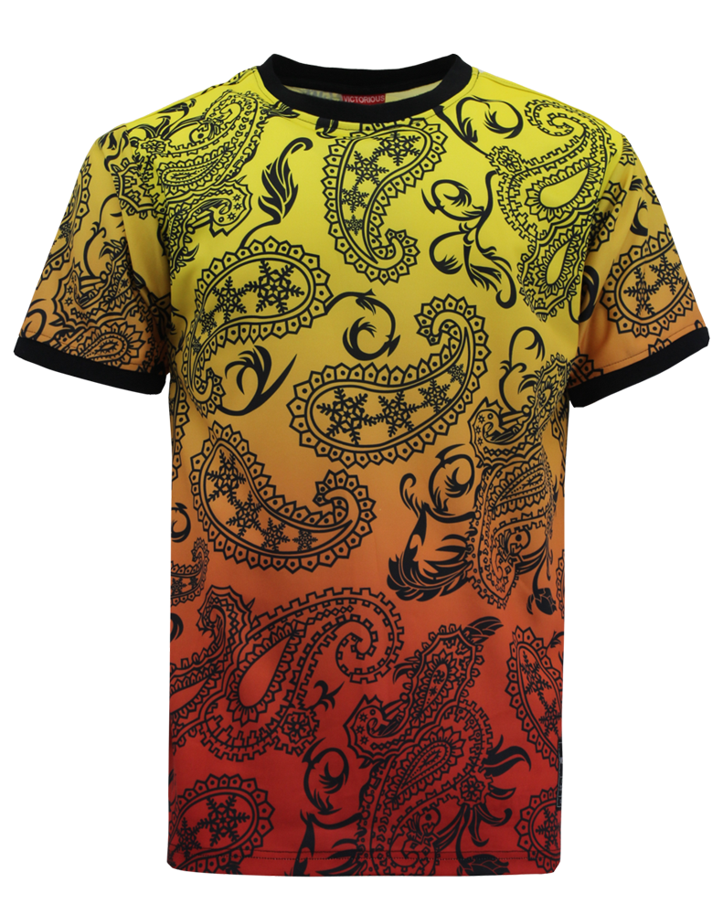 PAISLEY OMBRE T-SHIRTS - RED
