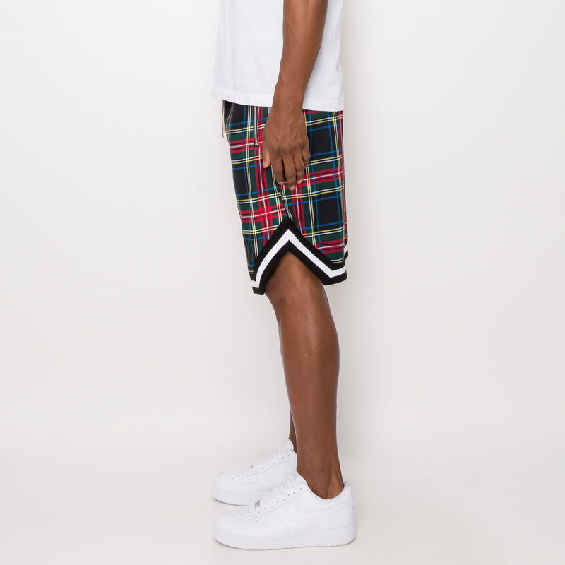 PLAID BASKETBALL SHORTS - BLACK