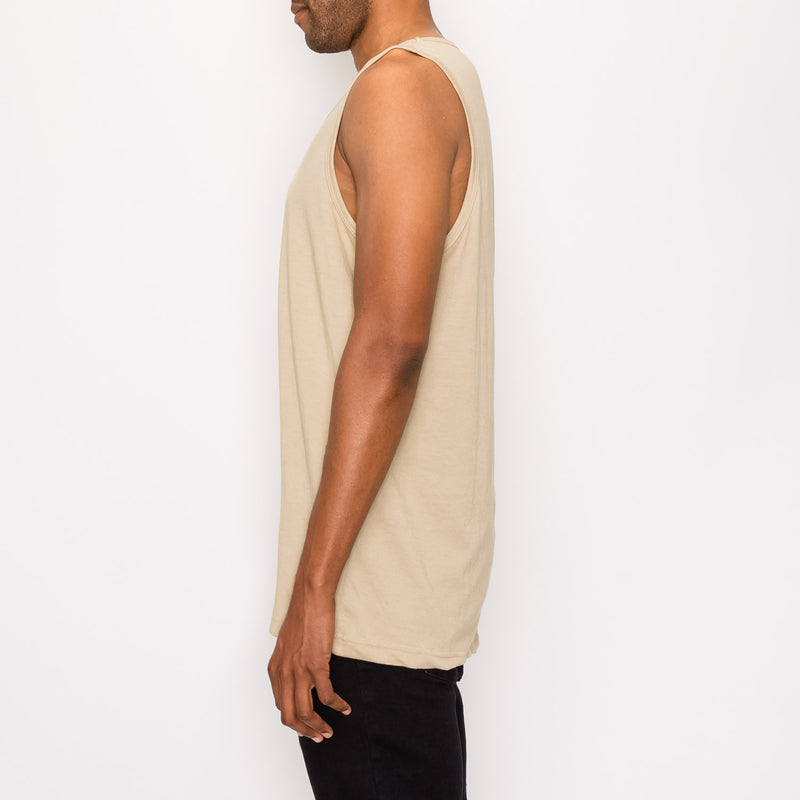 ESSENTIAL LONG LENGTH TANK TOP - KHAKI