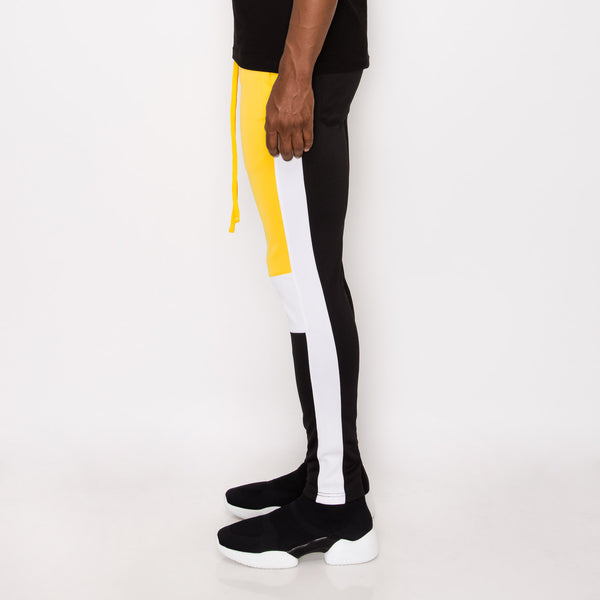 TRI COLOR BLOCKED TRACK PANTS -GOLD