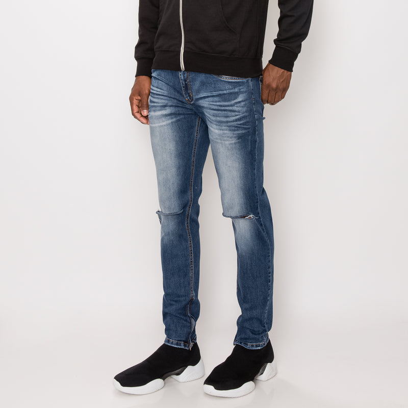 KNEE CUT SKINNY DENIM JEANS - INDIGO