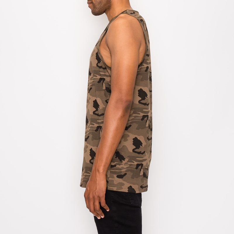 ESSENTIAL STRAIGHT HEM LONG LENGTH TANK TOP - CAMO