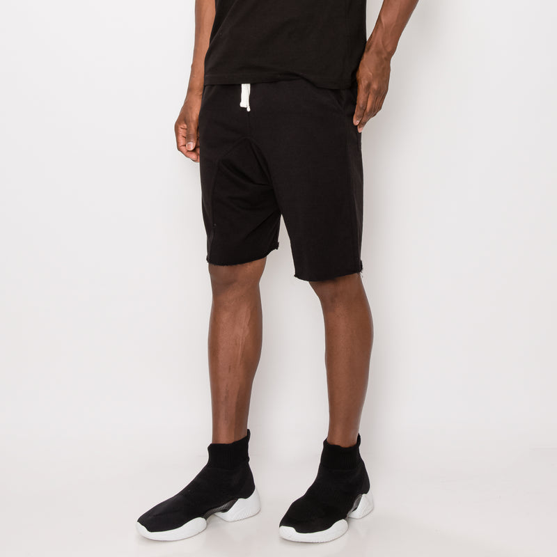 DROPPED CROTCH SWEAT SHORTS - BLACK