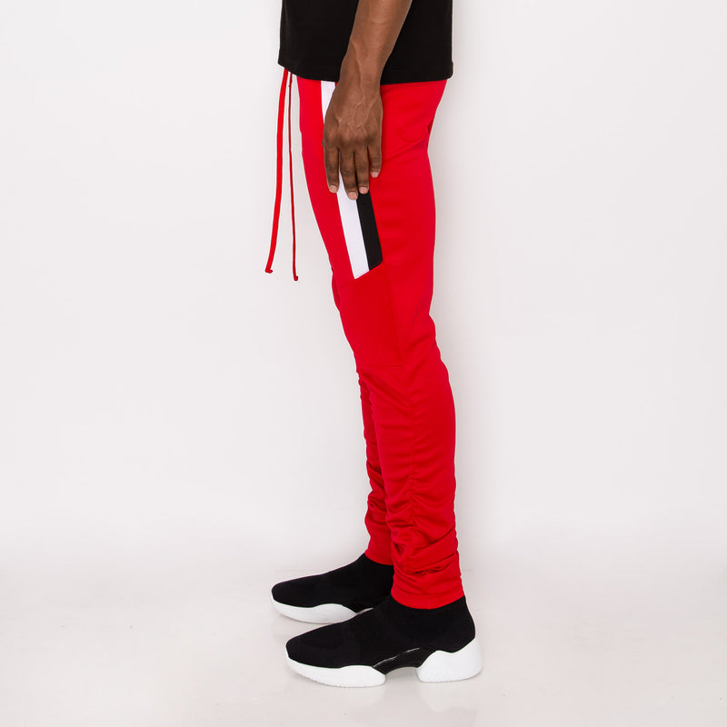 Scrunched Bungee Double Striped Track Pants - RED