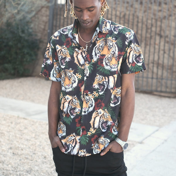 FLORAL TIGER SHIRTS - BLACK