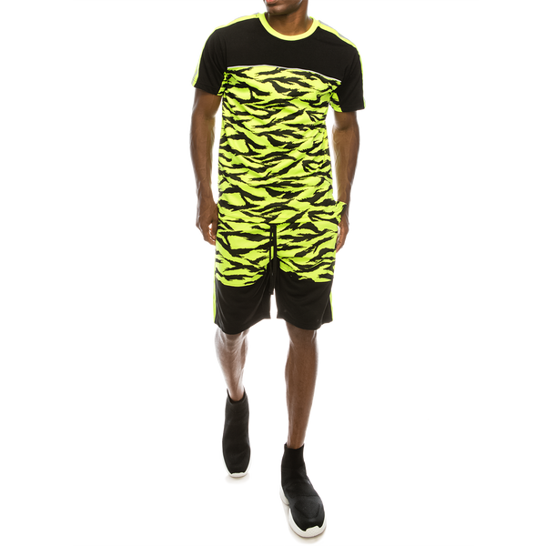 REFLECTIVE TAPE TIGER CAMO SUITS SET - NEON YELLOW
