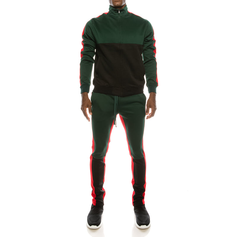 COLOR BLOCK TRACK SUITS SET - GREEN