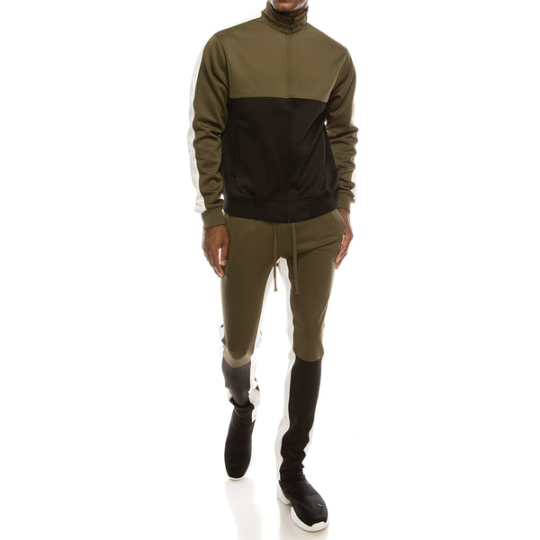 COLOR BLOCK TRACK SUITS SET - OLIVE