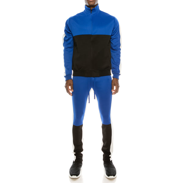 COLOR BLOCK TRACK SUITS SET - ROYAL BLUE