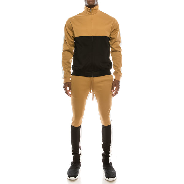 COLOR BLOCK TRACK SUITS SET - WHEAT