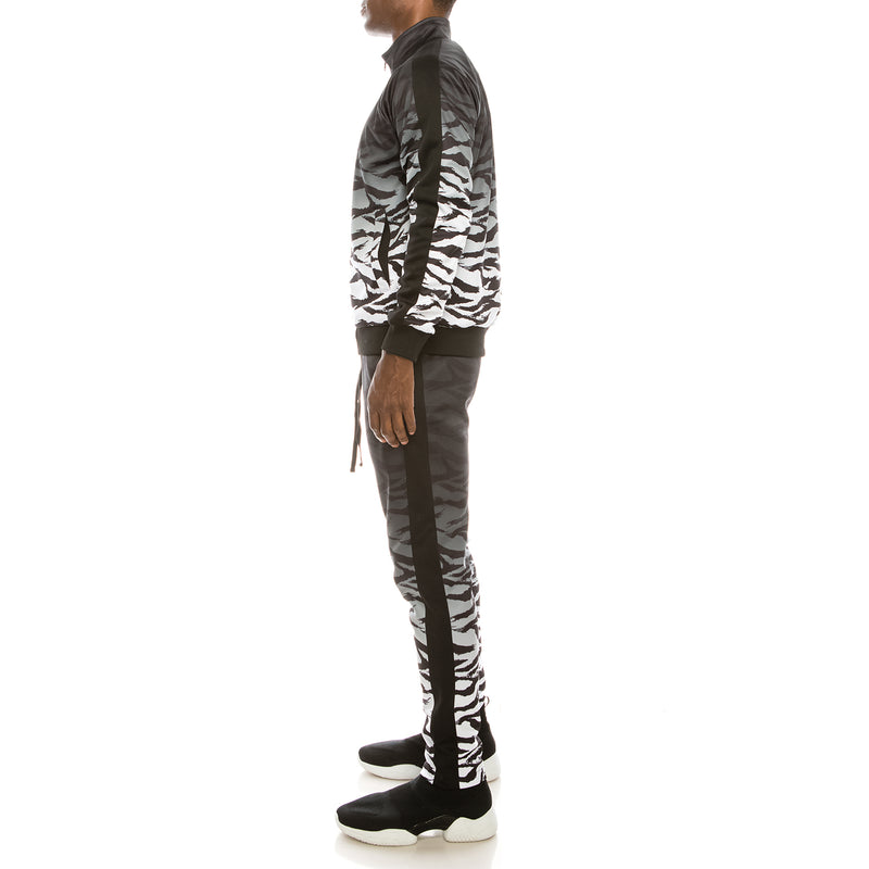 DIP DYE TIGER TRACK SUITS SET - BLACK