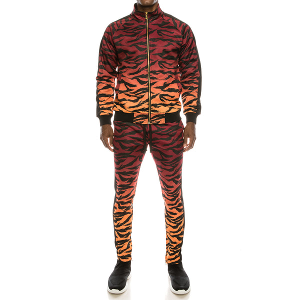 DIP DYE TIGER TRACK SUITS SET - RED