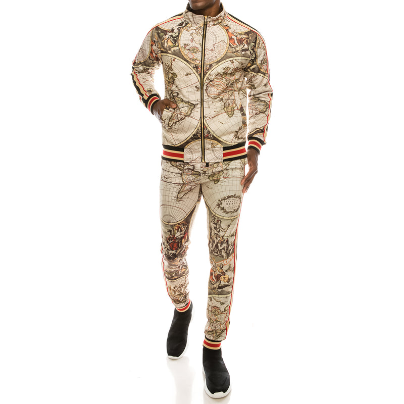 WORLD HISTORY TRACK SUIT SET - TAN