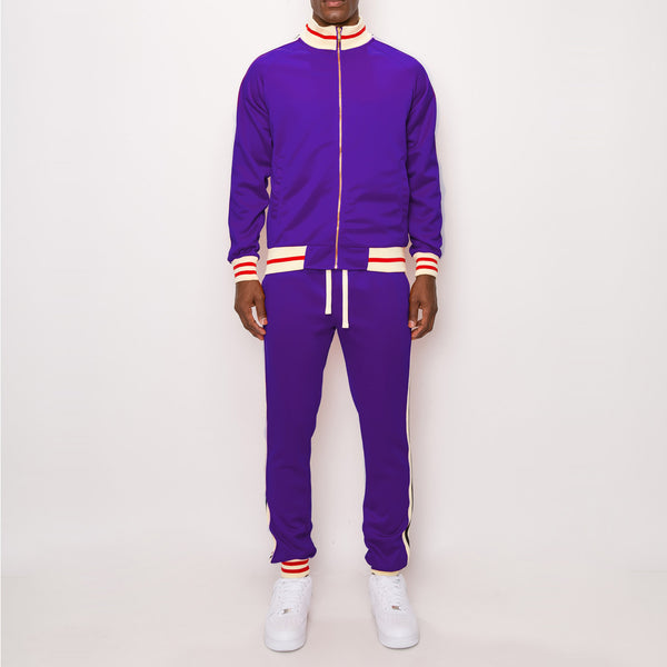 SIDE STRIPE TRACK SUITS - PURPLE