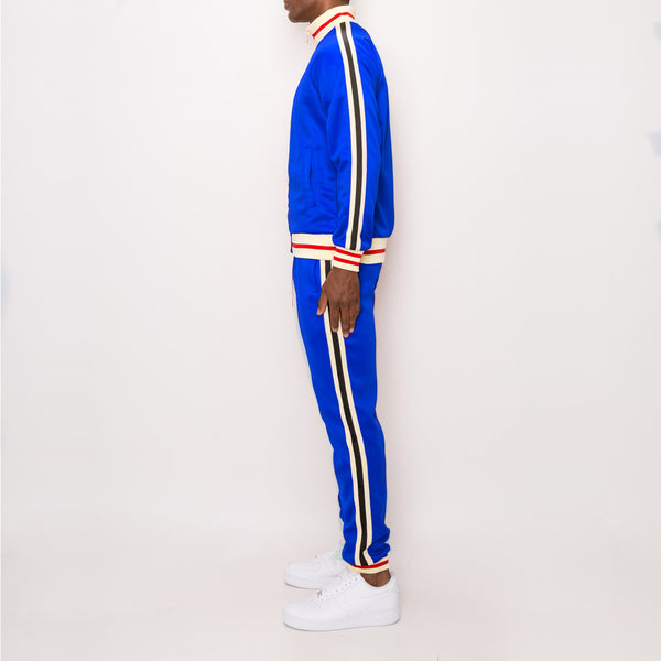 SIDE STRIPE TRACK SUITS - ROYAL BLUE