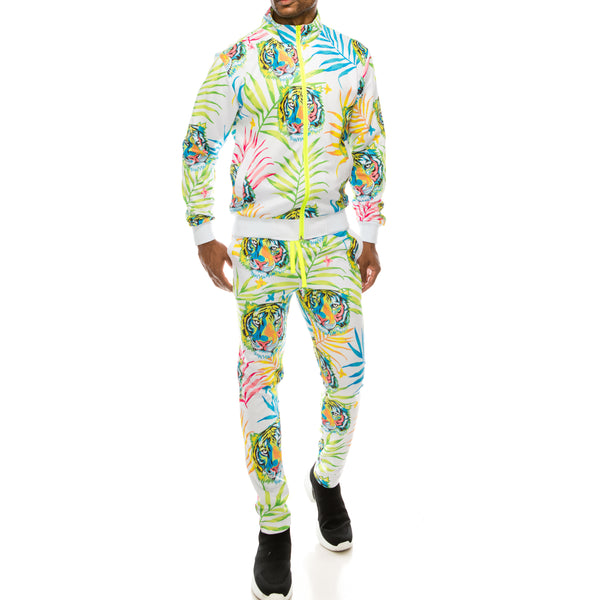 NEON TIGER TRACK SUITS SET - WHITE