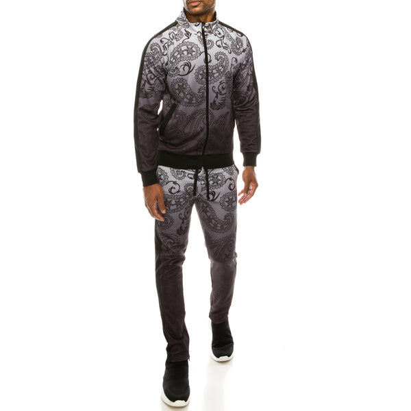 PAISLEY OMBRE TRACK SUITS SET - BLACK