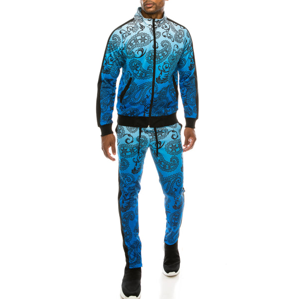 PAISLEY OMBRE TRACK SUITS SET - BLUE