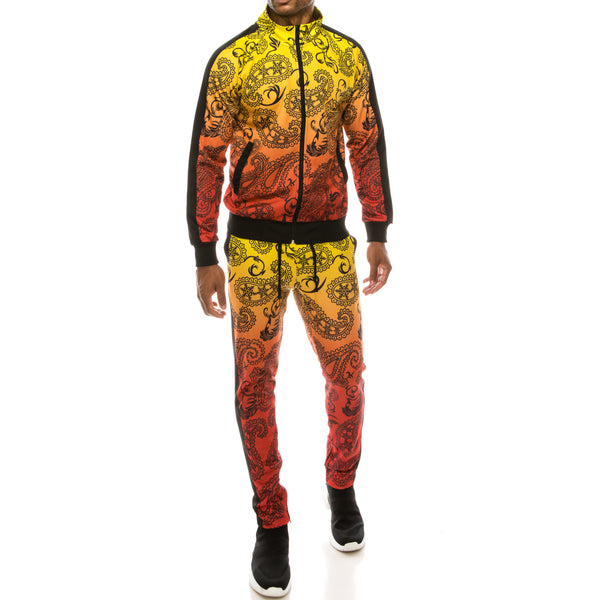 PAISLEY OMBRE TRACK SUITS SET - RED