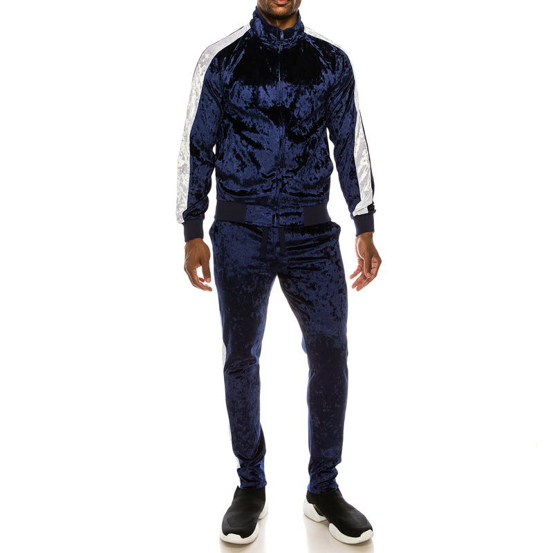 VELOUR SUITS SET - NAVY