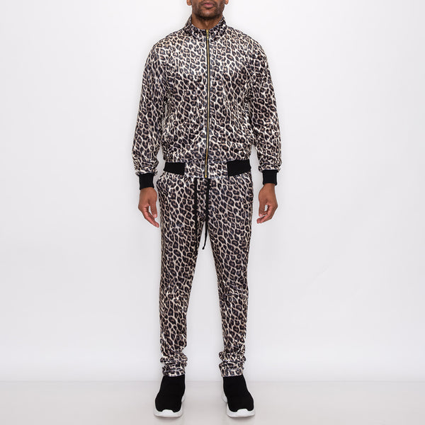 VELVET LEOPARD TRACK SUITS SET