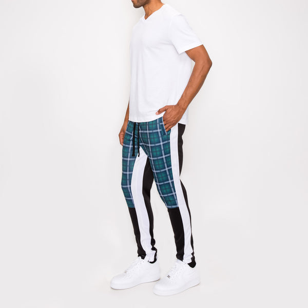 Plaid Track Pants - TEAL PLAID