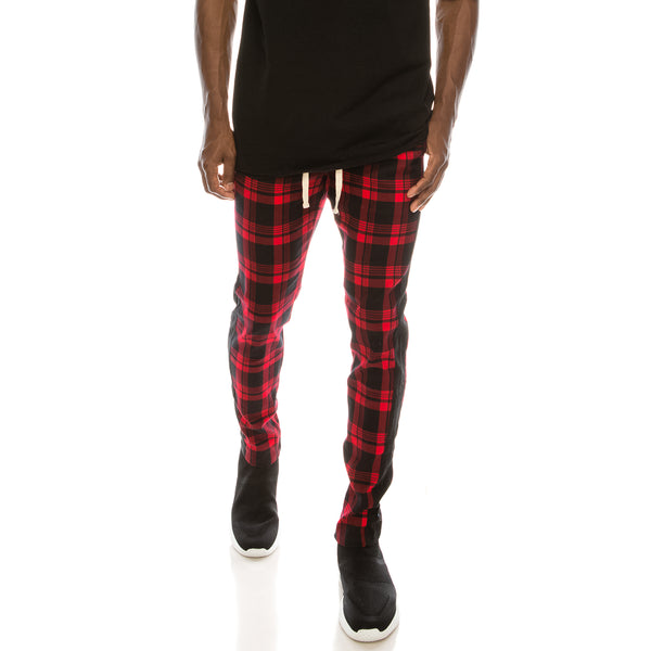PLAID TRACK PANTS - RED