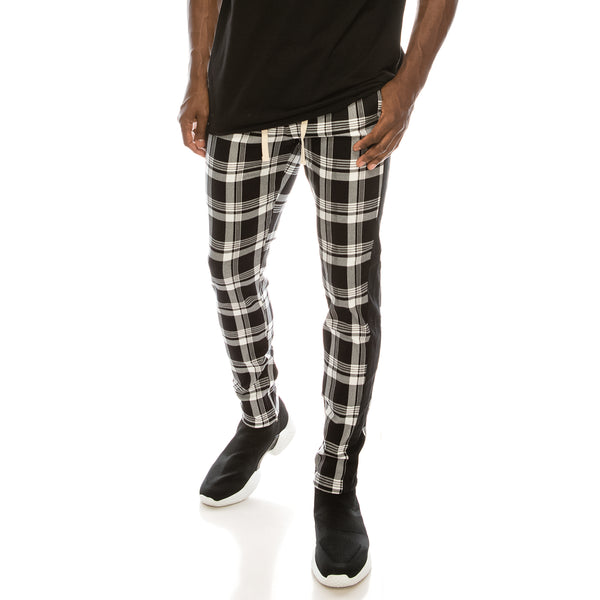 PLAID TRACK PANTS - BLACK