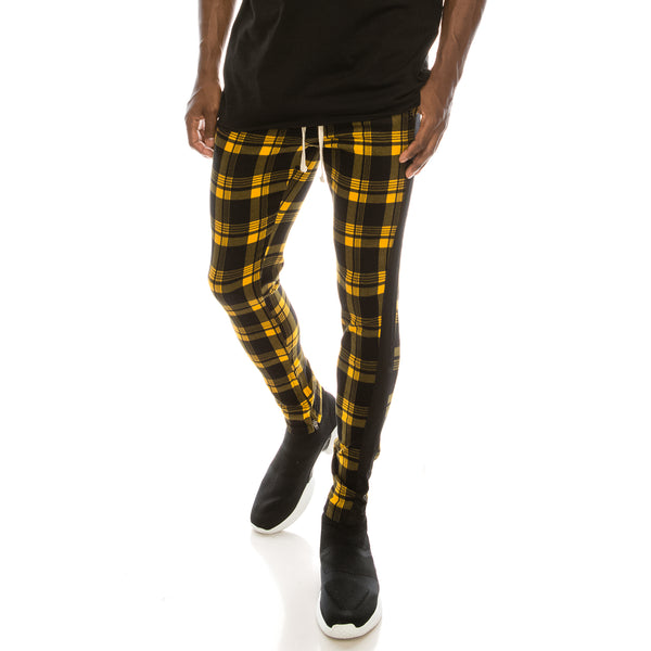 PLAID TRACK PANTS - GOLD