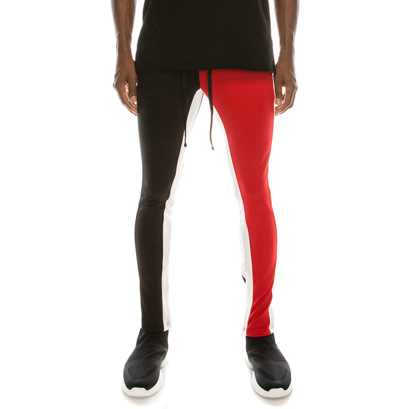 HALF AND HALF TRACK PANTS - RED