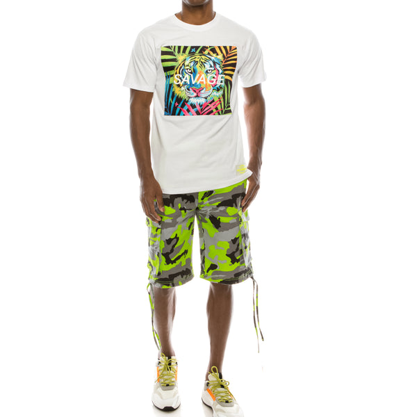 COLORFUL TIGER SAVAGE T-SHIRTS - WHITE